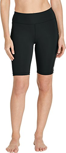 Coolibar UPF 50+ Women's Santa Cruz Swimming Shorts - Sun Protective (Large- Black)