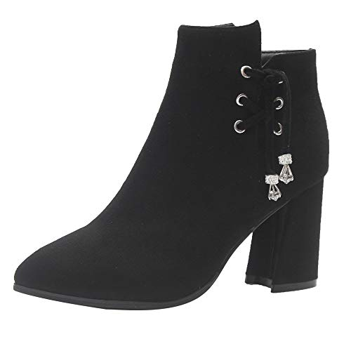 Women Boots Casual Shoes Martin Boots Suede Ankle Boots High Heeled Zipper Boot Daily Shoes HunYUN