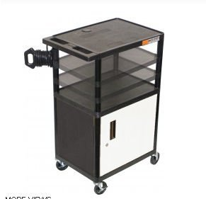Multi-Height Open Shelf Table AV Cart with Locking Cabinet Luxor Open Shelf Table