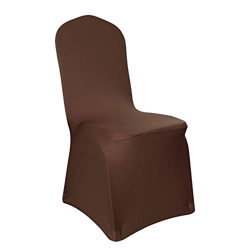 Deconovo Set of 4pcs Brown Color Stretch Chair Covers Spandex Dining Chair Cover for Wedding Banquet Party