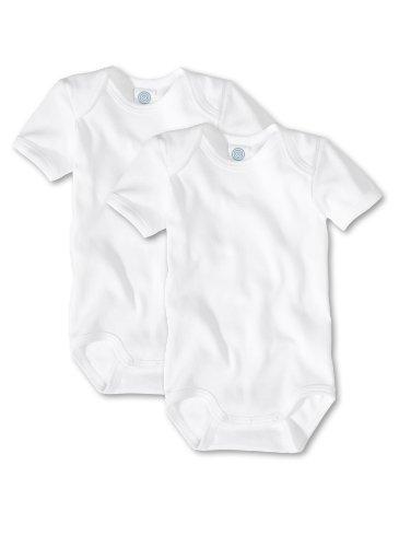 Sanetta Unisex - Baby Body 321860, 2Er Pack, Einfarbig, Gr. 92, Weiß (White 10)