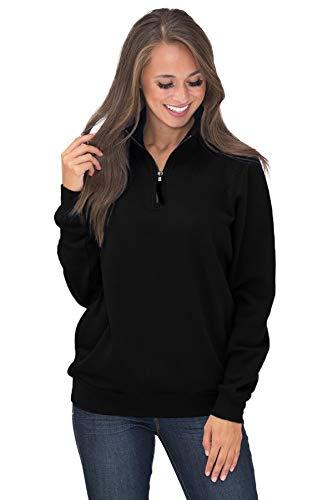 BJGXFMQ Women's Long Sleeve Oversized 1/4 Zip Pullover Sweatshirt Top Pockets Outwear Black 2XL ()