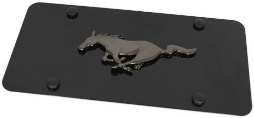 (Au-Tomotive Gold, INC. Black Pearl Ford Mustang Emblem Logo Front License Plate Frame Black Steel by)