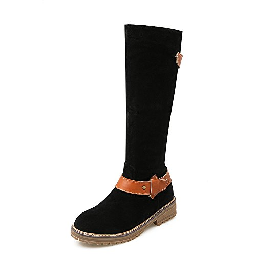 Boots Thigh High Belt Black High Womens AIWEIYi Bukles Warm Boots toe Flat Closed Knee BqPT7n