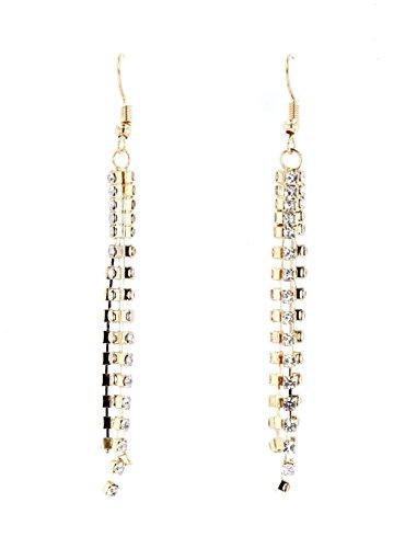 Ellas Women's Classic Triple Strand Rhinestone Dangle Earrings (Gold-tone)