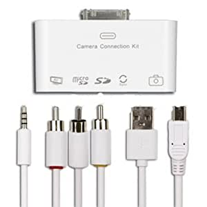 5-in-1 Camera Connection Kit USB Stick, SD, Mini SD SDHC Card Reader AV Video Audio Out RCA Cable to TV Adapter with USB 2.0, Sync & Charge Ports For Apple iPad, iPad 2 & The New iPad 3