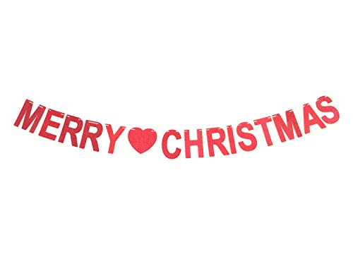 GZFY Merry Christmas Banner Sign Garland Red Glitter for Christmas Party Holiday Decor Displaying and Embellishing ()