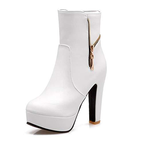 De Botas White Con Mujer Chunky Altos Gran 32 Tamaño Hoesczs Tacones 43 Cremallera Botines Zapatos Invierno Plataforma t1qaww