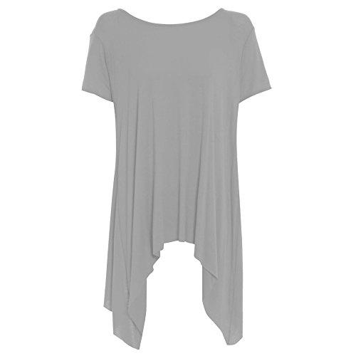 Be Jealous Women's Plain Stretchy Cap Sleeve Flared Swing Hanky Hem Dress Top Plus Size (US 12/14) (Hanky Hem Top)
