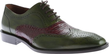 Belvedere Mens Sesto Genuine Alligator & Italian Calfskin Oxfords, Antique Emerald / Wine, 10.5 Medium (1B8) (Belvedere Shoes For Men compare prices)