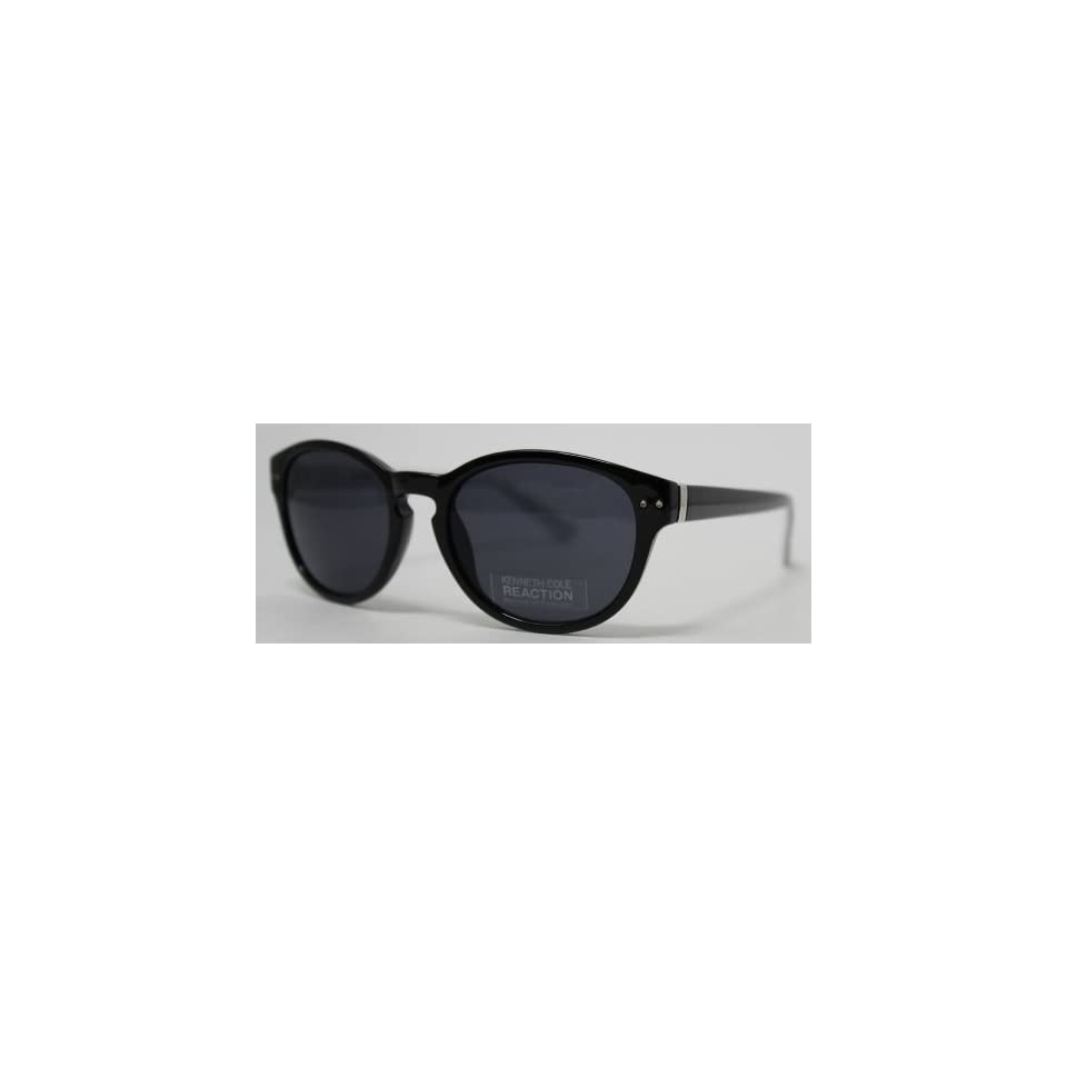 Kenneth Cole Reaction Sunglass Black Round Nerd Fashion Plastic, Smoke Lens KC1198 1A