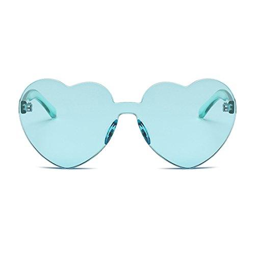 Eyewear de Inlefen de sin girl Verde caramelo sol color en corazón transparente lente forma de montura Women gafas 0Bq7a