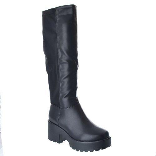 Mujer Grueso Medio Alto Tacón en Bloque Plataforma por la rodilla con cremallera Pernera Ancha Elástico Nuevo Botas Zapatos Varios Números Piel Sintética Negro