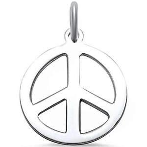 Plain Peace Sign 925 Sterling Silver Pendant - Jewelry Accessories Key Chain Bracelet Necklace Pendants