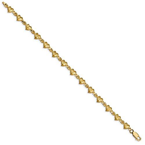 ICE CARATS 14kt Yellow Gold Heart Arrow 7 Inch Bracelet Fancy/love Link Fine Jewelry Ideal Gifts For Women Gift Set From (Ice Yellow Gold Bracelets)