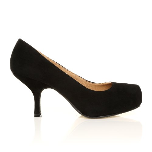 Heel Shoes ADA Classic Mid Court Black Faux Suede Kitten TSKrZfTq