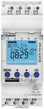 Theben Digitale Zeitschaltuhr SELEKTA 174 top3 2 Kan/äle Verteilerschaltuhr digital 4003468170137