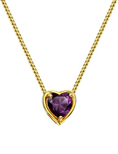 Mints 18K Gold Plated Silver Birthstone Pendant Necklace Amethyst February Gemstone Heart Shape Fine Jewelry for Women