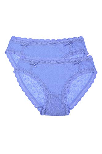 Women's Premium Half Coverage Floral Mesh Lace Bikini Briefs Panty Underwear (2 Pack) (X-Large) Light Blue