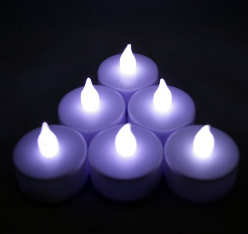 6 PCS Battery Operated Flameless LED Flickering Tea lights Candles - Cool White Tealights ~BlueDot -