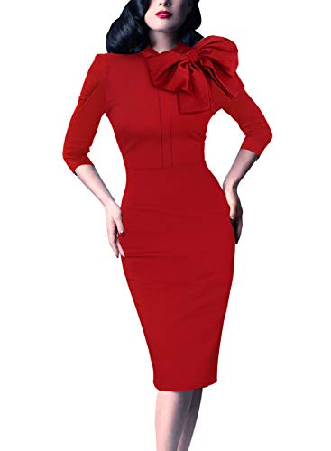(VFSHOW Womens Celebrity Vintage Bowknot Cocktail Party Stretch Bodycon Dress 1243 RED XS)