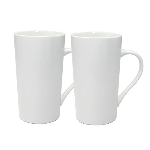 Large Tea Mugs - YINUOWEI Simple Pure White Large Ceramic Coffee Milk Cup Porcelain Mugs, 20oz, Set of 2