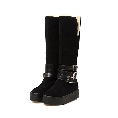 Allhqfashion Frosted Boots Closed Women's Black Round High Top Solid Heels Toe Kitten Y4gYrvHqW