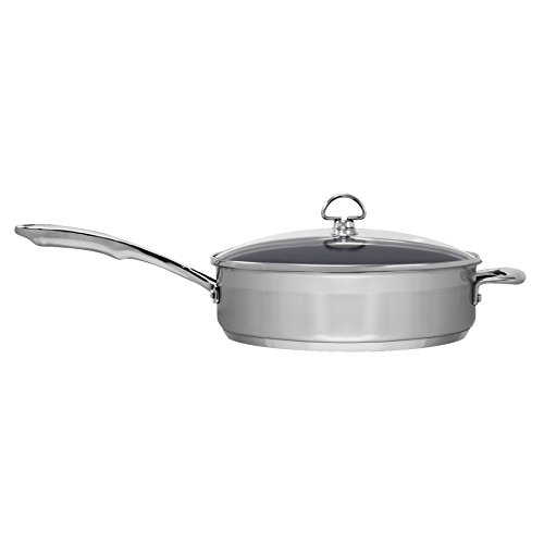 Chantal SLIN34-280C Induction 21 Steel Ceramic Coated Saute Skillet with Glass Tempered Lid, 5 quart, Silver by Chantal (Image #1)