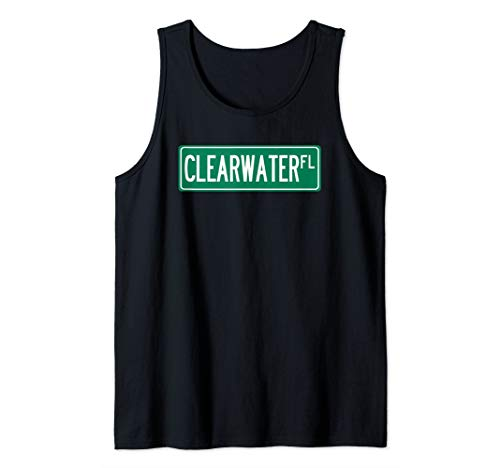 (Cool and Trendy Clearwater  FL Street Sign Tank Top)