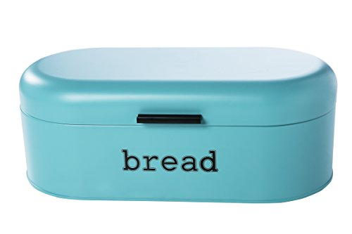 Large Bread Box for Kitchen Counter - Bread Bin Storage Container With Lid - Metal Vintage Retro Design for Loaves, Sliced Bread, Pastries, Teal, 17 x 9 x 6 - Bread Blue Box