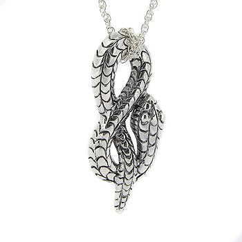 (Long Sterling Silver Coiled Snake Serpent Charm Pendant)