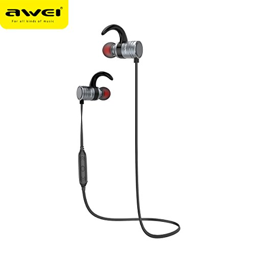 Bluetooth Battery Life (12h Calling Long Battery Life Bluetooth Headphones Magnetic Switch AWEI Wireless Earbuds Bluetooth V4.1 Earphones IPX4 Sweatproof Running Wireless Headset(CVC6.0 Noise Cancelling) (GUN COLOR))
