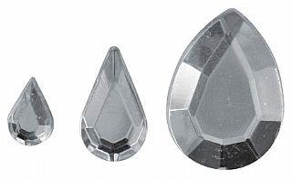 Assorted Silver Teardrop or Petal Shaped Acrylic Rhinestones - 310pk