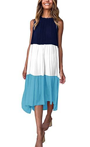 PRETTYGARDEN Women's Summer Sleeveless Color Block Patchwork Pleated Elastic Crew Neck Loose Midi Dress (Blue, Large)