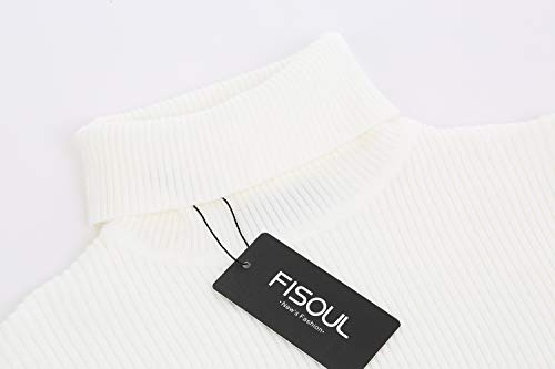 Col Roulé Fisoul Longues Slim Chandails Coton Manches Homme Casual Uni Sweater White Pulls Fit IwCqwZgH