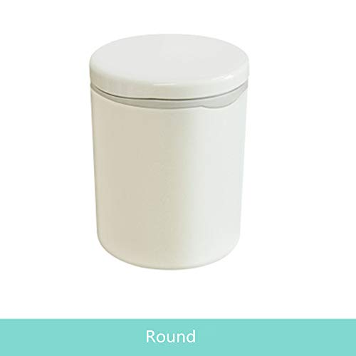 Cute Small Plastic Desktop Trash Can with Lid for Bathroom Counter top, Car, Easy to Hang (Round)