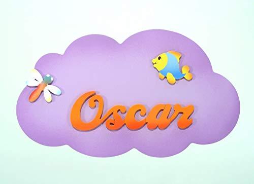 Cartel decorativo infantil de madera forma de *nube ...