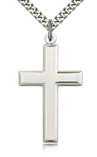Heartland Store Classic High Polish Cross Sterling Silver Pendant for Men + 24 Inch 2.2mm Sterling Silver Chain & Clasp