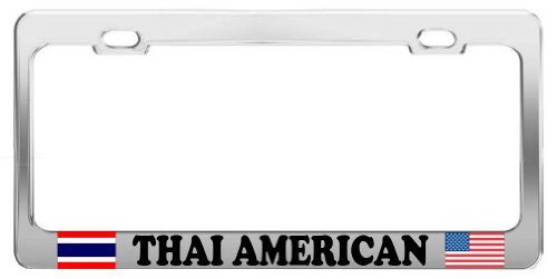 product-express-thai-american-proud-chrome-steel-tag-holder-license-plate-frame
