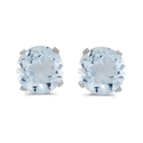 14k White Gold 5 mm Natural Round Aquamarine Stud Earrings ()