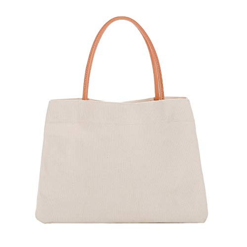 Gophra Xlarge Size Cotton Canvas Tote Bag with Leather Strap, Eco-friendly, Foldable, Heavy Duty for Girls, Women, Ladies