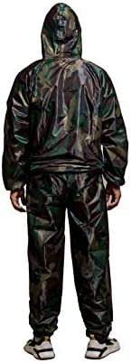 GOLD XIONG PADISHAH Sweat Sauna Suit for Men Women Zipper Anti-Rip Hoodie Weight Loss Workout Suits Camouflage and Black 7