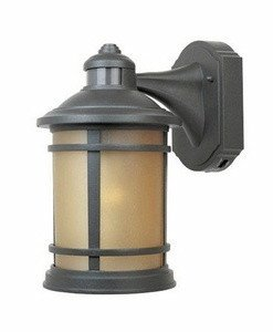 Designers Fountain 2371MD-ORB Sedona Motion Detector - One Light Outdoor Wall Lantern, Oil Rubbed Bronze Finish with Sunlit Copper Glass by Designers Fountain