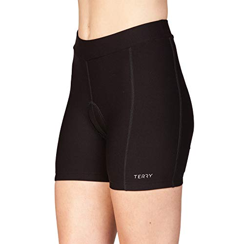 (Terry Club Short Regular 4.5 Inch Inseam Padded Bike Shorts Women's Specific Spin Indoor Cycling Short – Black – Medium)