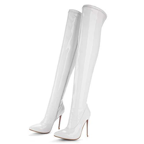 Chiusa Pu Ginocchio Stivali A yc White Ballroom Caviglia 14cm Donna Neve  Tacco Autunno Piattaforma Alla L Punta Invernale YqP0E ce65e69a378
