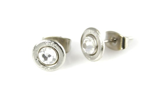 Price comparison product image 25 Auto Nickel Plated Brass Bullet Head Stud Earrings