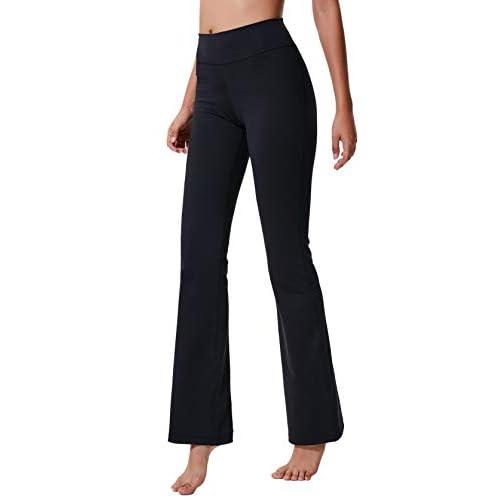 32a0965db3586 ChinFun Women's Performance High Waist Bootleg Yoga Pants Inner Hidden Pocket  Tummy Control Bootcut Sweatpants Ankle Leggings