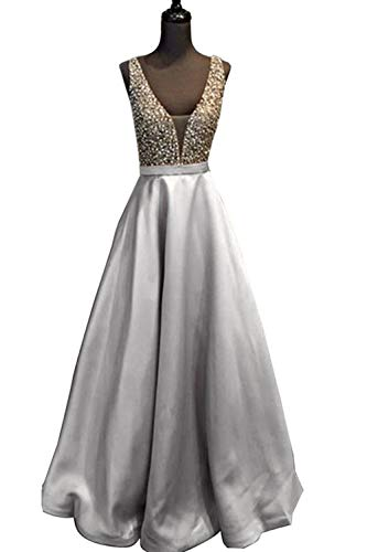 YuNuo Gorgeous V Neck Beaded Crystal Brown Long Prom Dresses 2018 Custom Made Sexy Floor Length Evening Dress Long Formal Party Gowns - Gorgeous Beaded Crystal