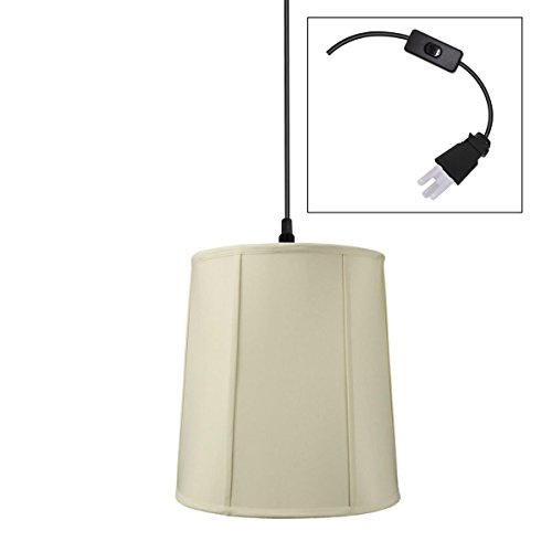 Plug-In Pendant Light by Home Concept - Hanging Swag Lamp Eggshell Drum Shade - Perfect for apartments dorms no wiring needed Egg Shell Black One-light