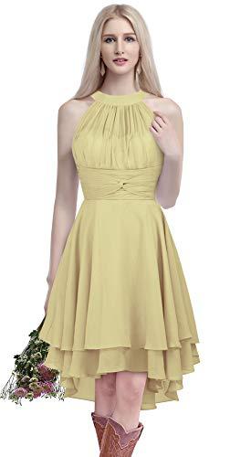 2facaba2a3d1a MenaliaDress Chiffon Halter High Low Country Bridesmaid Dress Western  Wedding Guest Dress M052LF Champagne US6